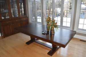 Custom Build Solid Walnut Wood Dining Table and Buffet + Hutch