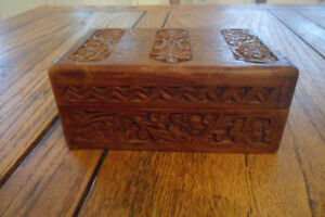 Small carved wood box