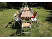 Vintage style mis match wooden chairs and folding trestle tables available for hire | wedding party