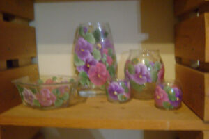 5 piece glassware with Pansy's
