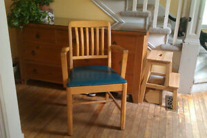 Antique, custom-built, solid wood chair from Quebec