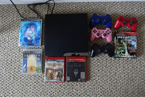 PS3 Slim 160 gb + games + 4 controllers - $200