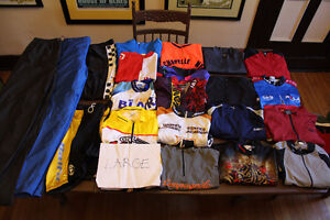 USED 5 pieces cycling jerseys MAILLOTS BIBS shorts S MED L XL