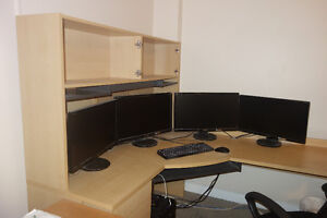 A Corner Curved Large Desk, Lots of Work Space and Storage!