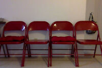 4 RED Metal Folding Chairs