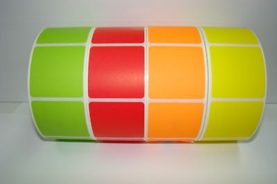1000 2x2 Blank Green Thermal Transfer Labels Stickers
