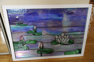 Monet stained glass panel