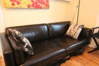 Dark Brown Leather Couch For Sale