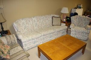 Matching - and very lightly used three cushion couch & arm chair