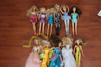 Barbie dolls (11) with extra clothes, furniture, accessories