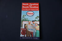 1950's Vintage Esso Map of North & South Carolina- Oil & Gas Wat