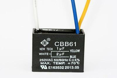 Ceiling Fan Capacitor Cbb61 1uf2uf 3 Wire