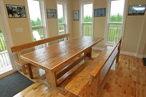 Reclaimed Harvest Tables and Cabinets