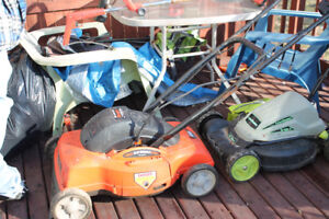 2 electric mowers ,electric whipper snipper,electric tiller gas