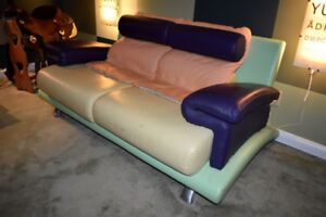 leather sofa REALLY COOL AND UNUSUAL MULTI COLOURED