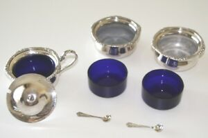 SALT CELLARS and COVERED MUSTARD POT- SILVER PLATE