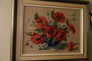 Needle point Poppies in double wooden frame with matt glass