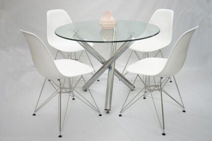 Trion Tower 5pc Round Glass Dining Table Setting