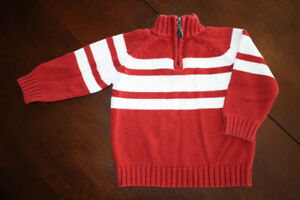 Quarter Zip Red and White Sweater- 6-9 months
