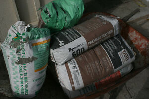Thinset Mortar and gray grout