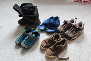 6 pairs boys shoes size 7&8 incl winter boots sneakers, slippers