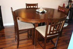 Brown 5-Piece Dining Room Table with Chairs