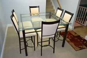 7 PIECE MODERN DINING SET WITH GLASS TABLE
