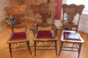 Antique Press Back Dinning chairs