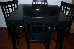 Black Pub Style Table with 4 high back chairs