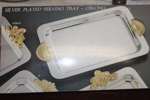 New Chrome Serving Platter / Toiletries on Vanity / Bathroom