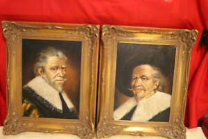 2 VINTAGE PORTRAITS OLD MEN EUROPEAN ART ORIGINAL OIL ON CANVAS