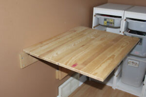 Unfinished wood pine wall table from Ikea for sale