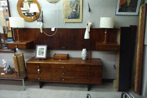Rosewood queen bed, 9 drawer dresser + mirror.  Not teak