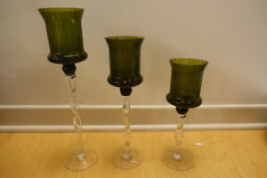 Set of three glass decorative candles holders green