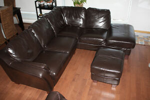 Sectional Leather Couch, Love Seat and Ottoman