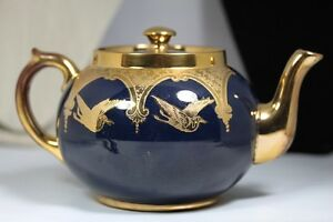 GIBSONS Large Teapot Royal Blue /gold Trim with birds (storks?)