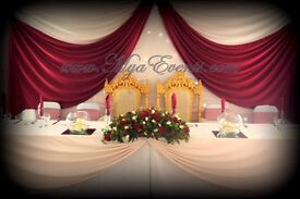 Gold Candelabra Hire Wedding Charger plate Rental London Chair Cover Hire 79p Reception Table Decora