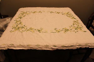 Hand Cross Stitched Linen Table Cloth ( new never used )