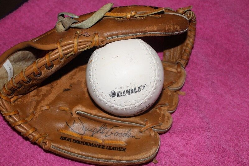 Leather Spalding baseball glove and Dudley ball