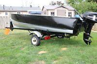 14 FT Aluminum Boat,10hp motor and trailer