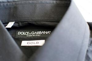 $560 Dolce & Gabbana Gold Fit Black Dress Shirt sz 15 / 38 D&G