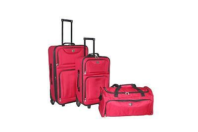 New 3PC Red Luggage Travel Bag Trolley Suitcase Carrier 25