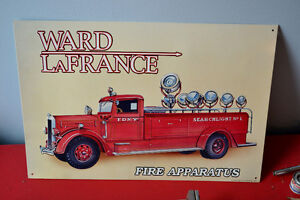 WARD LFRANCE FIRE APARATUS SPOLIGHT TRUCK TIN SIGN - PENCARTE