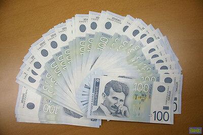 NIKOLA TESLA - SERBIA - 100 DINAR - BANKNOTE - CONSECUTIVE s/n -  UNCIRCULATED