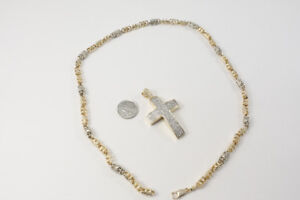 10K Gold Man's Chain and Cross with Diamonds - all real!