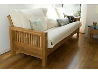 Fantastic solid oak frame 3 seater futon by Futon company with futon mattress
