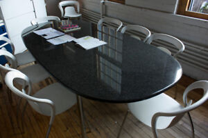 Granite & chromed steel frame boardroom table + 8 designer chair