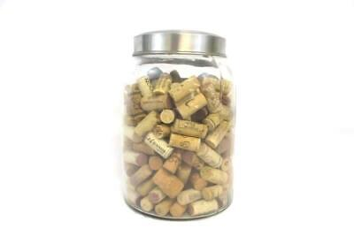 Lot of 238 Wine Corks Inside Large Glass Jar Various Vineyard Natural Diy Craft