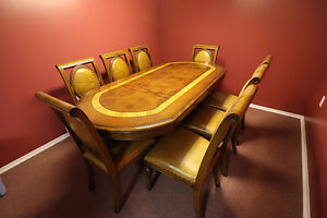 Gorgeous solid wood dining room table with 8 chairs