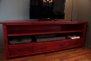 Reclaimed Wood Media Stand By LIKEN Woodworks
